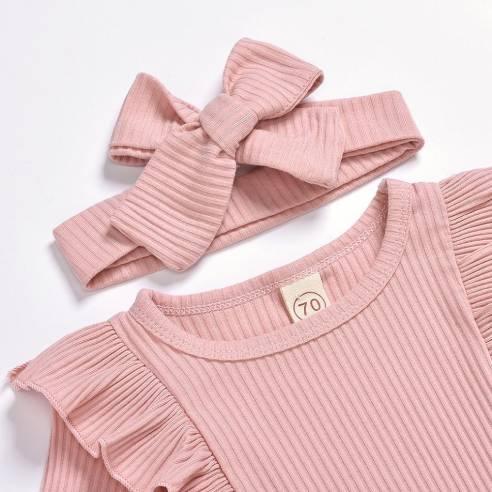oblačila za otroke, dojenčke deklice bodi, hlače, naglavni trak, bombaž