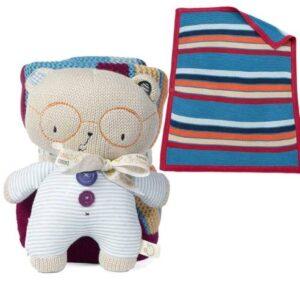 Odeja, bombažna odeja, otroška odeja, Mehka odejica z igračko medvedek