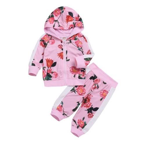oblačila za otroke, dojenčke deklice; jopica s kapuco in hlače, trenirka