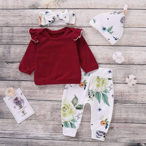 oblačila za otroke, deklice, dojenčke, komplet; majca, hlače, trak, kapa
