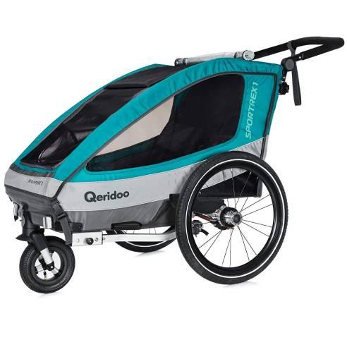 Qeridoo Sportrex-1 Aquamarin, otroška prikolica za na kolo