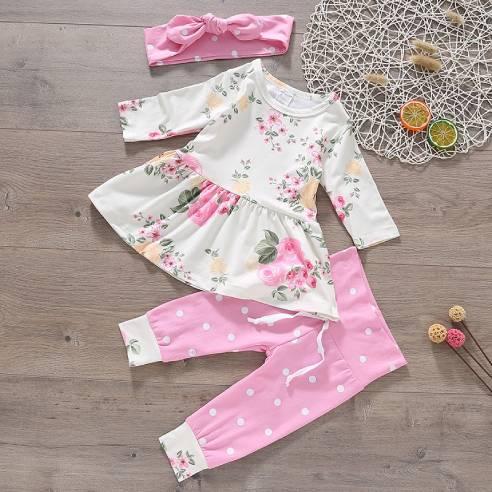 oblačila za otroke, dojenčke deklice; hlače, majica trak