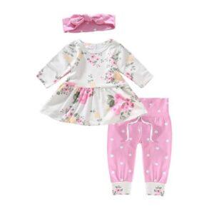 oblačila za otroke, dojenčke deklice; hlače, majica, trak