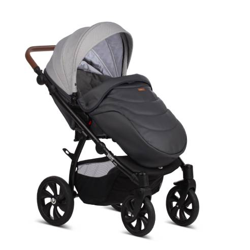 Otroški voziček Tutis Aero 2v1 – 111 Silver Moon kombinacija blaga in usnja
