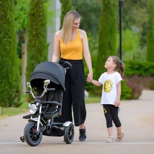 Tricikel Chopper 6v1 za otroke od 9 mesecev do 5 let za potepanje grey, siva