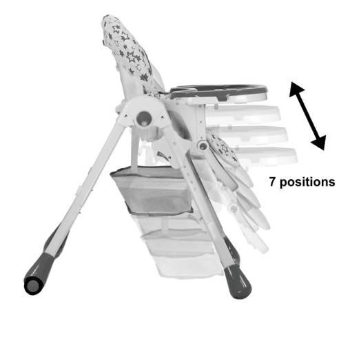 Otroški stol za hranjenje ima 3 položaje hrbtni naslon