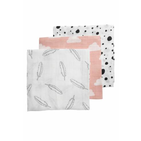 pleničke 3x, grey, black, pink 70x70cm