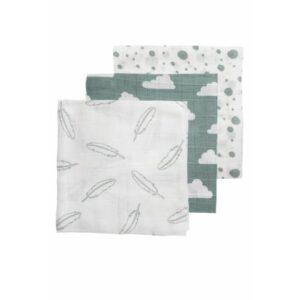 pleničke 3x, stone green-white, 70x70cm