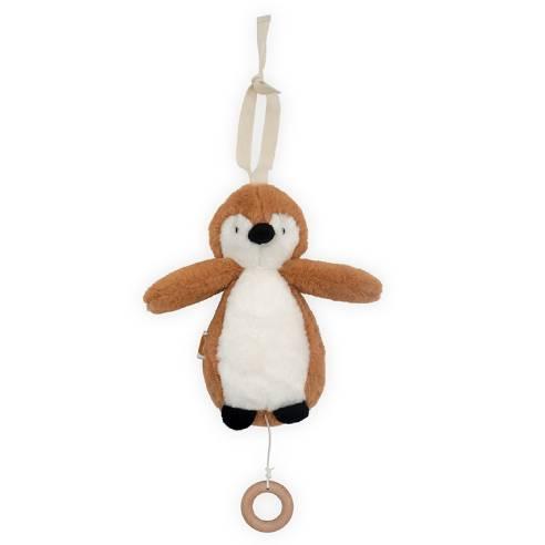 Glasbeno obešalo za dojenčka pingvin caramel 01
