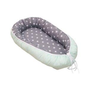 Gnezdo za dojenčka mint-siva 01