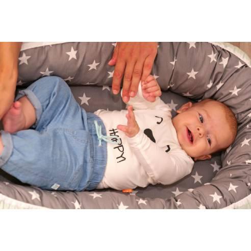 Gnezdece za dojenčka, mint-siva