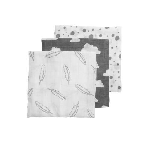 pleničke 3x, 70x70cm whit grey