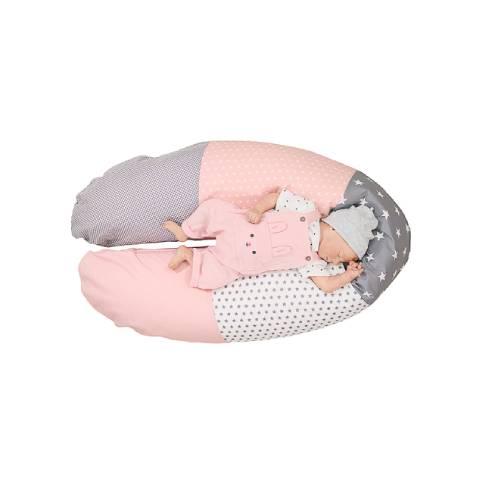 Podporna blazina za dojenje siva-roza 01