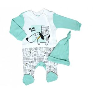 pajac +kapa zelena kuža za dojenčka od 0-9 mesecev