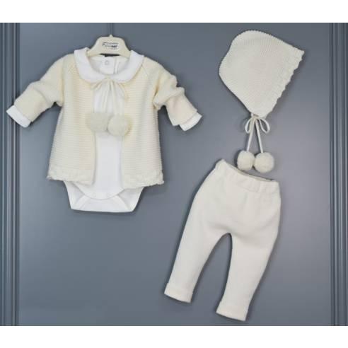 pleten kom. za dojenčka vel. 0-12 mesec (kapa, jopica, hlače, bodi)