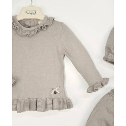pleteni 3 delni komplet za dojenčka hlače, jopica kapa krem.jpg02